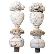 Pair of Indo-Portuguese Baroque Painted Teak Urn Finials