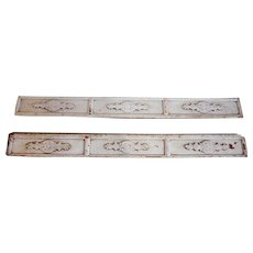 Pair of Indo-Portuguese Baroque Painted Teak Architectural Carved Planks