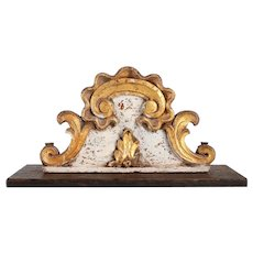 Two Indo-Portuguese Baroque Painted Teak Architectural Altar Cornices