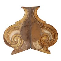 Pair Indo-Portuguese Baroque Painted Teak Architectural Altar Brackets