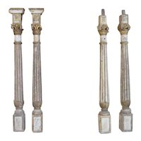 Two Pairs Indo-Portuguese Baroque Painted Teak Columns