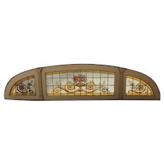 Argentine Beaux Arts Stained, Leaded and Painted Glass Arched Transom