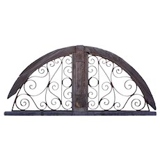 French Colonial Pine and Wrought Iron Arched Transom Grille