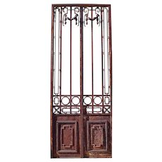 Tall Argentine Beaux Arts Wrought Iron Double Door Gate
