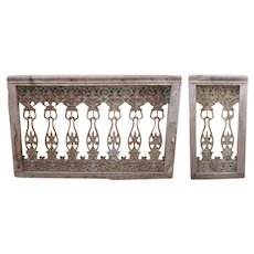Set of Two English Victorian Teak Framed Painted Cast Iron Balustrades