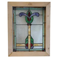 Small American Denver Bungalow Craftsman Stained, Jeweled and Leaded Glass Window