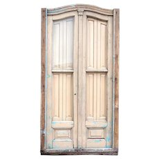 Argentine Louis XV Style Painted Mahogany and Glass Arched Double Door