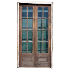 Argentine Mahogany and Glass French Double French Door and Frame