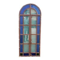 Continental Blue Textured Glass and Painted Iron Arched Casement Window