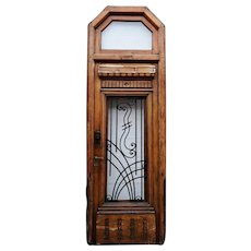 French Oak and Wrought Iron Single Entry Door with Transom