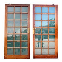 Pair Vintage Argentine Mahogany and Beveled Glass Pane Single Sliding Doors