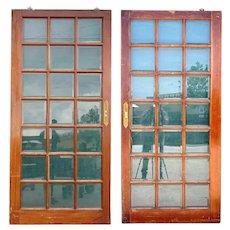Pair Vintage Argentine Mahogany and Beveled Glass Pane Single Sliding Doors