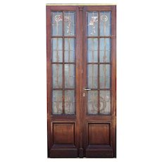 Argentine Beaux-Arts Mahogany and Painted Glass Double Door