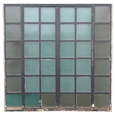 Large Vintage Industrial Heavy Iron Frame Casement Window