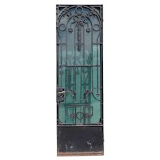 Tall French Beaux-Arts Single Wrought Iron and Glass Single Entry Door