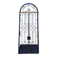 Fine French Beaux-Arts Style Blue Painted Wrought Iron Double Door Entry and Arched Transom