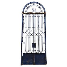French Art Deco Blue Painted Wrought Iron Double Door Entry and Arched Transom