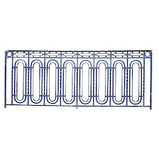 French Art Deco Blue Painted Heavy Wrought Iron Balcony