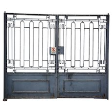 Pair of French Art Deco Painted Wrought Iron Driveway Gates