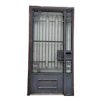 Argentine Beaux-Arts Style Painted Wrought Iron Single Entry Door and Sidelight