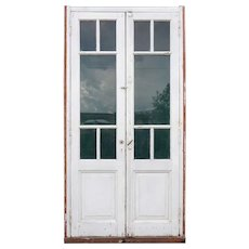 Vintage Argentine Mahogany and Glass Interior Double Door