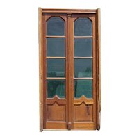 French Art Deco Style Walnut and Glass Double Door