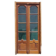French Art Deco Walnut and Beveled Glass Double Door