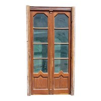 French Art Deco Walnut and Glass Double Door