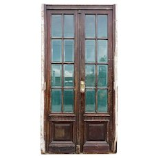 French Wooden Beveled Glass Pane Double Entry Door