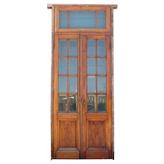 French Mahogany and Beveled Glass Pane Double Entry Door and Transom