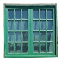 Argentine Painted Mahogany Glass Pane Double Casement Window