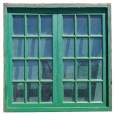 Argentine Painted Mahogany Glass Pane Double Casement Window