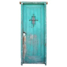 Spanish Style Green Painted Pine and Iron Single Door
