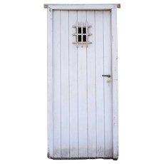 Spanish Style White Painted Pine and Iron Single Door