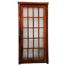 Arts & Crafts Mahogany Glass Pane Interior Single Door and Frame