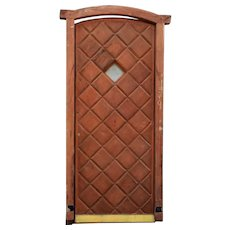 Vintage Argentine Mahogany Diamond Panel Arched Single Entry Door
