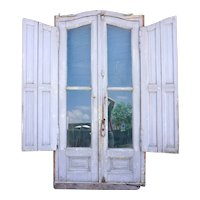 Painted Wooden Arched Double Door