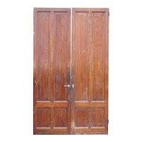 Tall French Mahogany Paneled Interior Double Door