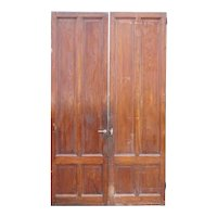 Two Tall French Mahogany Paneled Interior Single Doors