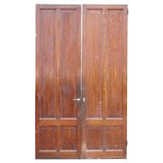 Two Tall French Mahogany Paneled Interior Single Doors
