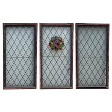 Set of Three English Tudor Style Leaded Diamond Pane Armorial Windows