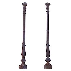 Pair of French Cast Iron Staircase Newel Posts