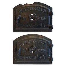Pair Argentine Higieneratus Industrial Cast Iron Wall Oven Furnace Doors