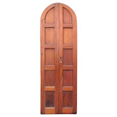 Tall French Mahogany Paneled Arched Double Door