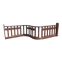 American Victorian Oak Serpentine Balcony Railing Section