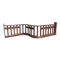 American Victorian Oak Serpentine Balcony Railing Section