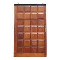 Vintage Argentine Solid Cedar Mahogany Paneled Single Sliding Door