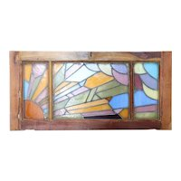 French Art Deco Mahogany Stained and Leaded Glass Sunset Window Transom