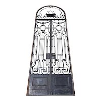 Tall French Beaux-Arts Wrought Iron Double Door and Arched Transom