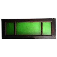 Argentine Mahogany and Green Textured Glass Rectangular Transom Window
